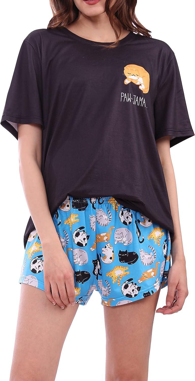 MissShorthair 2021 Cute Womens Pajama Shorts Tee Albuquerque Mall S Set and Print