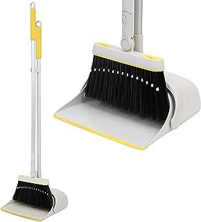 Jekayla ほうき ちりとり 立て式掃除セット 角度・長さ調節可能 回転式 99-137cm長柄 超軽量 櫛歯デザイン 自立式 コンパクト 収納簡単 多機能 室内·屋外(イエロー)