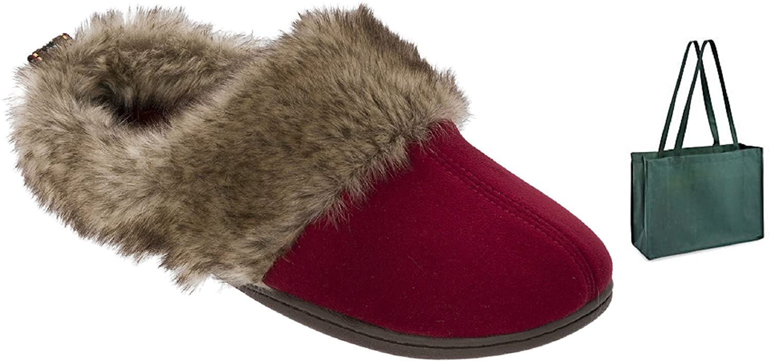 Dearfoams Womens' Microsuede Clog Slipper and Gift Bag (Small, Cabernet)