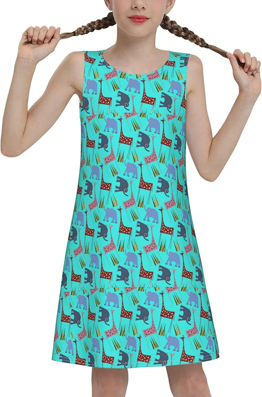 YhrYUGFgf Giraffe Elephant Clipart Sleeveless Dress for Girls Casual Printed Vest Skirt