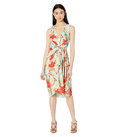 Badgley Mischka Sleeveless Aqua Print Runway Dress (Aqua Multi) Women