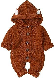 Camidy Neugeborenes Baby Strampler mit Winter wärmer Schneeanzug Gestrickte Onesies Warme Pullover Overall
