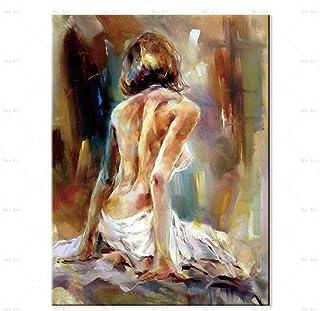 Peinture À L'Huile Peinte À La Main Sur Toile,Moderne Coloré 100% Peint À La Main Caractère Peinture Abstraite Vue Arrière...