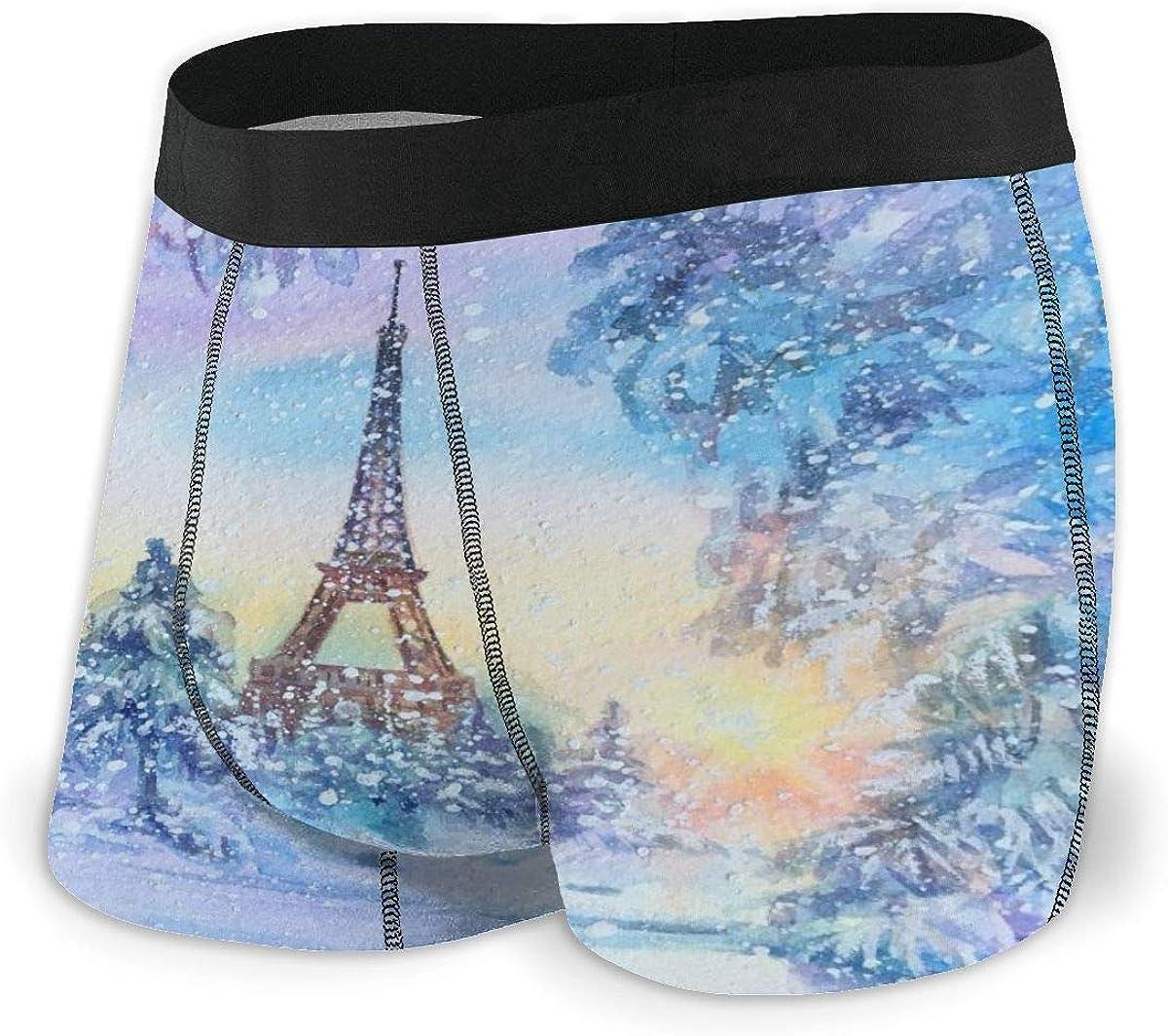Mens Boxer Briefs Paris Winter Watercolor Eiffel Tower, France Breathable Underwear