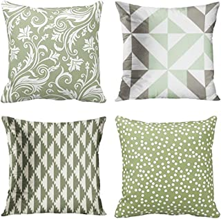 Emvency Set of 4 Throw Pillow Covers Sage Green and White Pattern Geometric Flower Floral Gray Abstract Decorative Pillow Cases Home Decor Square 18x18 Inches Pillowcases