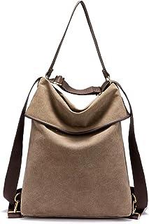 LOVEVOOK Canvas Tasche Rucksack Damen UPDATE VERSION Handtasche Damen Herren Schultertasche Groß Umhängetasche Damen Anti Diebstahl Daypack für Alltag Büro Schule Ausflug Einkauf - Brown