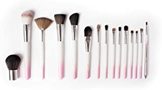 Vanity Planet Pallete Professional Makeup Brush - Soft Synthetic Bristles, White/Pink Set - Pack of 15