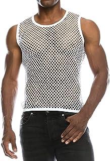 Homme Sans Manches Muscle Tank Débardeur Imprimé Léopard Maille Transparent T-shirt Tricot Top