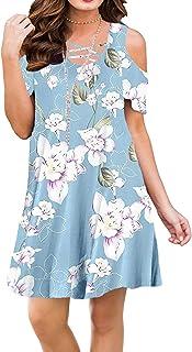 235bd212362e2 BLUETIME Women Summer Cold Shoulder Criss Cross Neckline Short Sleeve  Casual Tunic Top Dress (S