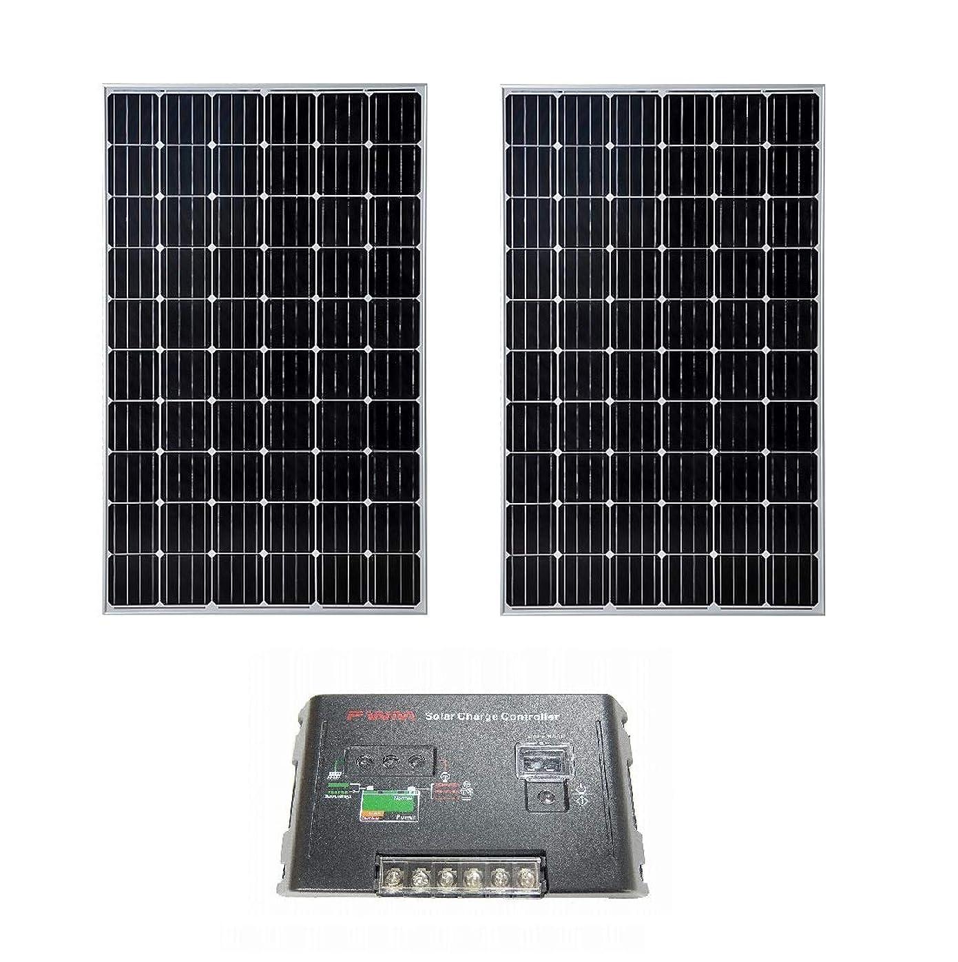 風邪をひくサルベージアプローチ単結晶 ソーラーパネル 270W2枚+20Aチャージコントローラーセット!24V蓄電に