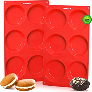 Walfos Silicone Whoopie Pie Baking Pans, 2 Pcs Non-Stick Muffin Top Pan. Food Grade and BPA Free Silicone, Great for Muffi...