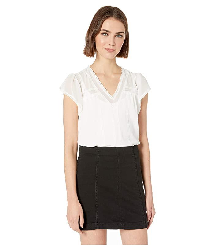 1.STATE  Short Sleeve V-Neck Blouse with Lace Trim Detail (Soft Ecru) Womens Blouse