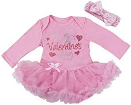 Kirei Sui Baby Rhinestone My 1st Valentine's Day Pink Bodysuit Tutu & Headband