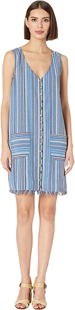 Button Front Tank Dress in Linen Stripe