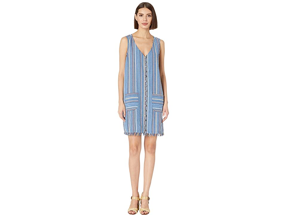Mod-o-doc Button Front Tank Dress in Linen Stripe (Blue) Women