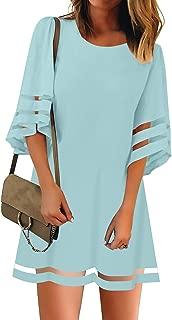 Women's Cute Bell Sleeve Summer Shift Mini Dress Ruffles Fowy Babydoll Party Dresses Patchwork Mesh A-Line Tops