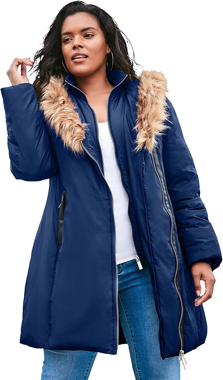 Roaman's Women's Plus Size Double-Layer Puffer Coat