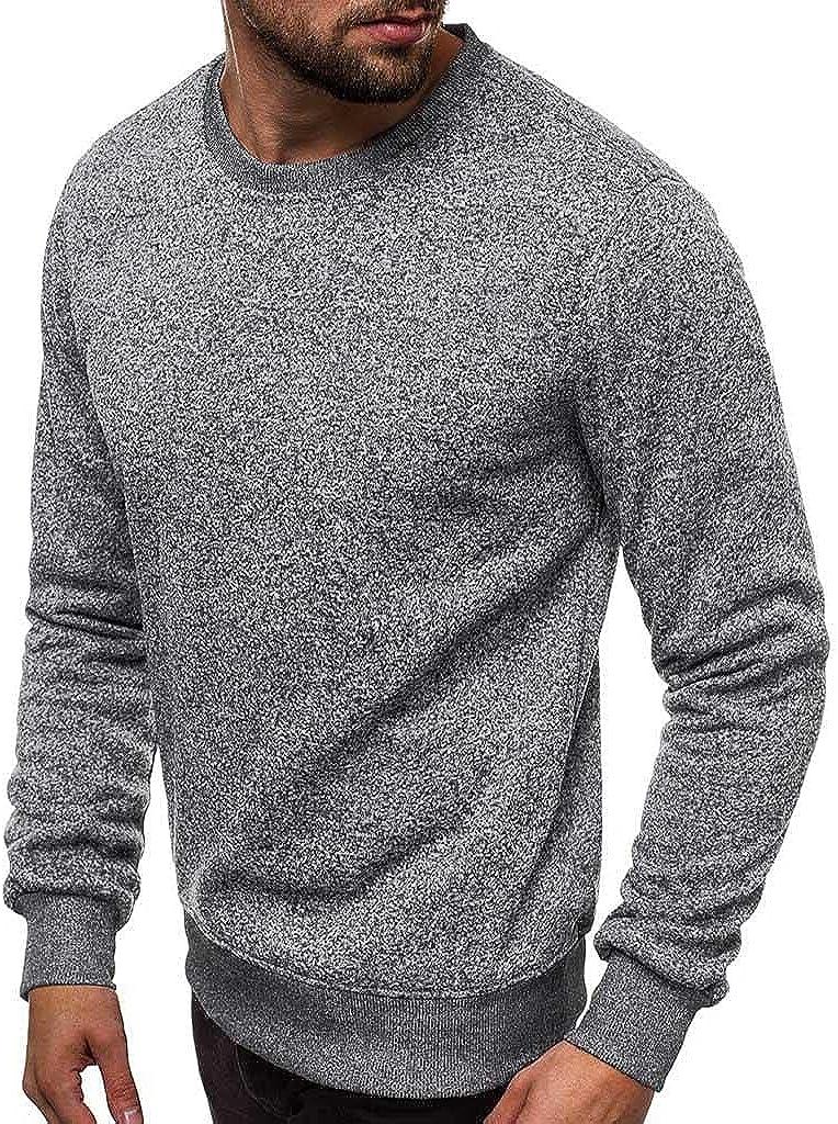 Men's Long Sleeve Sweatshirts Slim Fit Crewneck Sweater Cotton Blend Pullover Tops Lightweight T Shirts Sport Workout
