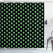 Ambesonne Alien Shower Curtain, Supernatural Martiansal Beings from Other Planets Head of an Alien, Cloth Fabric Bathroom Decor Set with Hooks, 70