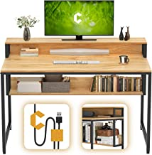 """Cubiker Computer Home Office Desk, 47"""" Small Desk Table with Storage Shelf and Bookshelf, Study Writing Table Modern Simpl..."""