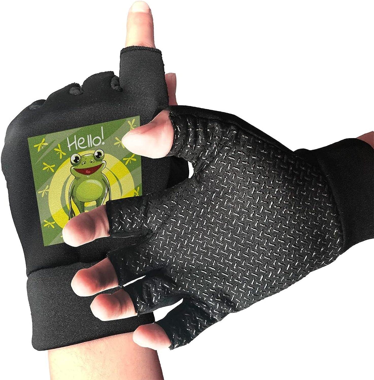 Cartoon Frog Non-Slip Driving Gloves Breathable Sunblock Fingerless Gloves For Women Men
