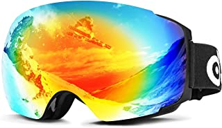 Odoland Snow Ski Goggles with Magnetic Detachable Lens - Double Spherical Lens and Eyewear Compatible - uv400 Anti-Fog Windproof Eyewear for Snowboarding, Snowmobile Winter Outdoor Sports