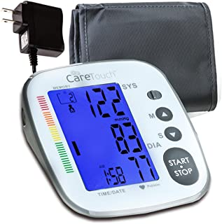 Care Touch Blood Pressure Monitor with AC Adapter - Fully Automatic Upper Arm Digital BP Cuff with AC Adapter, Platinum Series, Medium to Large Cuff - Batteries Included