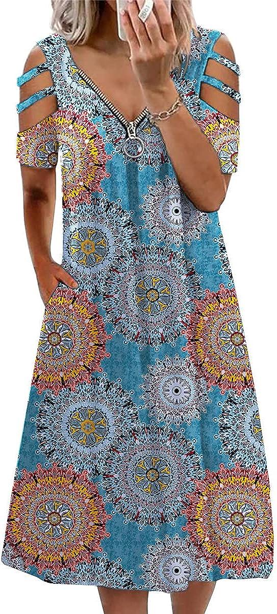 Jxzom Women Summer Casual T-Shirt Dresses Strappy Cold Shoulder Zipper Sundress Short Sleeve Casual Tunic Top Dress