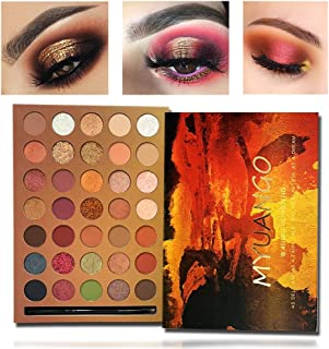 MYUANGO 35 Colors Eyeshadow Makeup Palette Natural Colors Bronze Highly Pigmented Soft Creamy Eyeshadow Metallic Matte Shimmer Glitter Ultra Neutral Blendable Eye Shadow With Eyeshadow Brush Kit