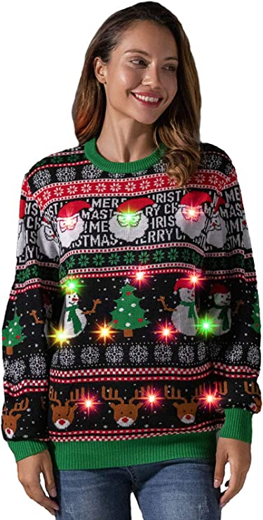 Women's Christmas Ugly Sweater Funny LED Light-up Flashing Pullover Knit Santa ugly christmas sweaters for women