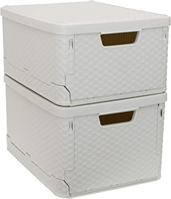 Household Essentials Cream Stackable Woven Storage Boxes Set   Tall and Short
