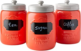 Comfify Set di 3 contenitori Decorativi con coperchi a Tenuta d'Aria per caffè, Zucchero e Altro Ancora - Stoccaggio in St...