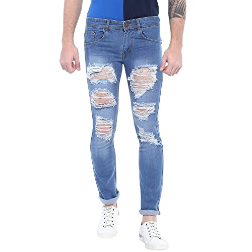 a72049aea73 Urbano Fashion Men's Heavy Distressed/Ripped Light Blue Slim Fit Stretch  Jeans