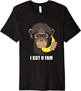 Hipster Monkey with Banana Phone - I Got You Fam T-Shirt