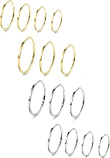 8-14Pcs 1mm Stainless Steel Women's Plain Band Knuckle Stacking Midi Rings Comfort Fit Silver/Gold/Rose Tone