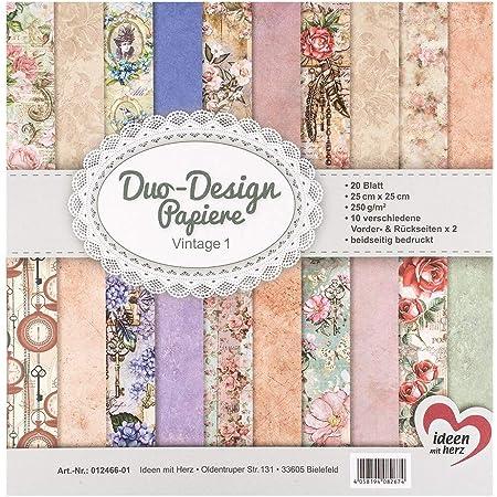 Ideen mit Herz Papiers décoratifs Duo-Design   Bloc de 20 Feuilles de Papier Craft   25 x 25 cm   250g/m²   imprimées Recto-Verso   Papier Dessin à Motifs   idéal pour Scrapbooking (Vintage 01)