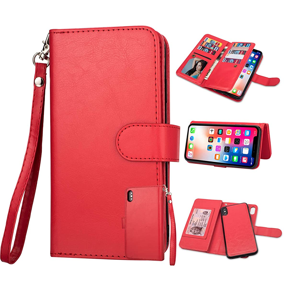 iPhone Xs Max Case,iPhone Xs Max Wallet Case, Ankoe Detachable 2in1 Premium Leather Folio Flip Magnetic 9 Card Slots Money Pocket Leather with Stand Case Cover for iPhone Xs Max 6.5 inch (Red)