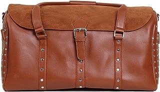 Stud Textured Duffel Bag Havane