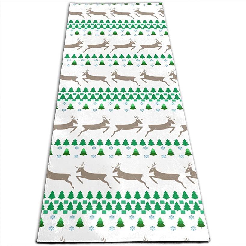 Agem Household Items Extra Thick Fitness Mat Non Slip Christmas Green Tree Brown Deer Yoga Mat Towel Anti-Tear Yoga Towel Extra Large Size Yoga Mat(71in24in)