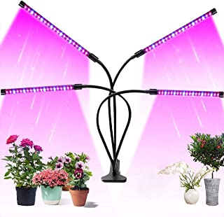 Upgraded 4 Head LED Grow Light for Indoor Plants, 80 LEDs Adjustable Growing Lamp, 9 Dimmable Levels, 3/9/12H Timer, Hydro...