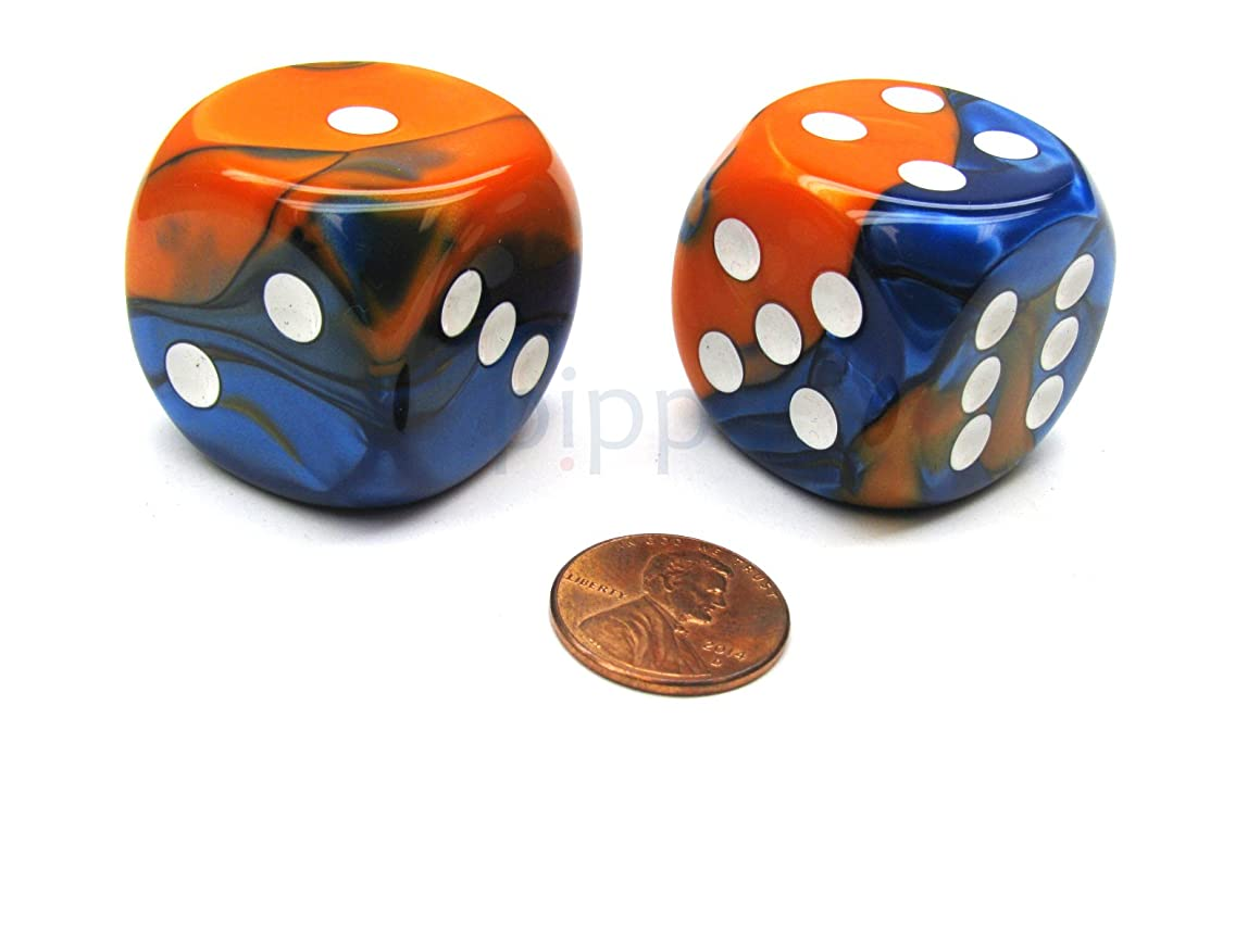 Chessex Gemini 30mm Large D6 Dice, 2 Pieces - Blue-Orange with White Pips