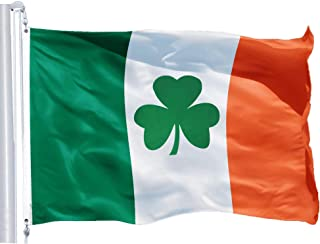 G128 – Irish Flag (Shamrock) | 3x5 feet | Printed 150D – Indoor/Outdoor, Quality Polyester, Brass Grommets, Much Thicker and More Durable Than 100D and 75D Polyester