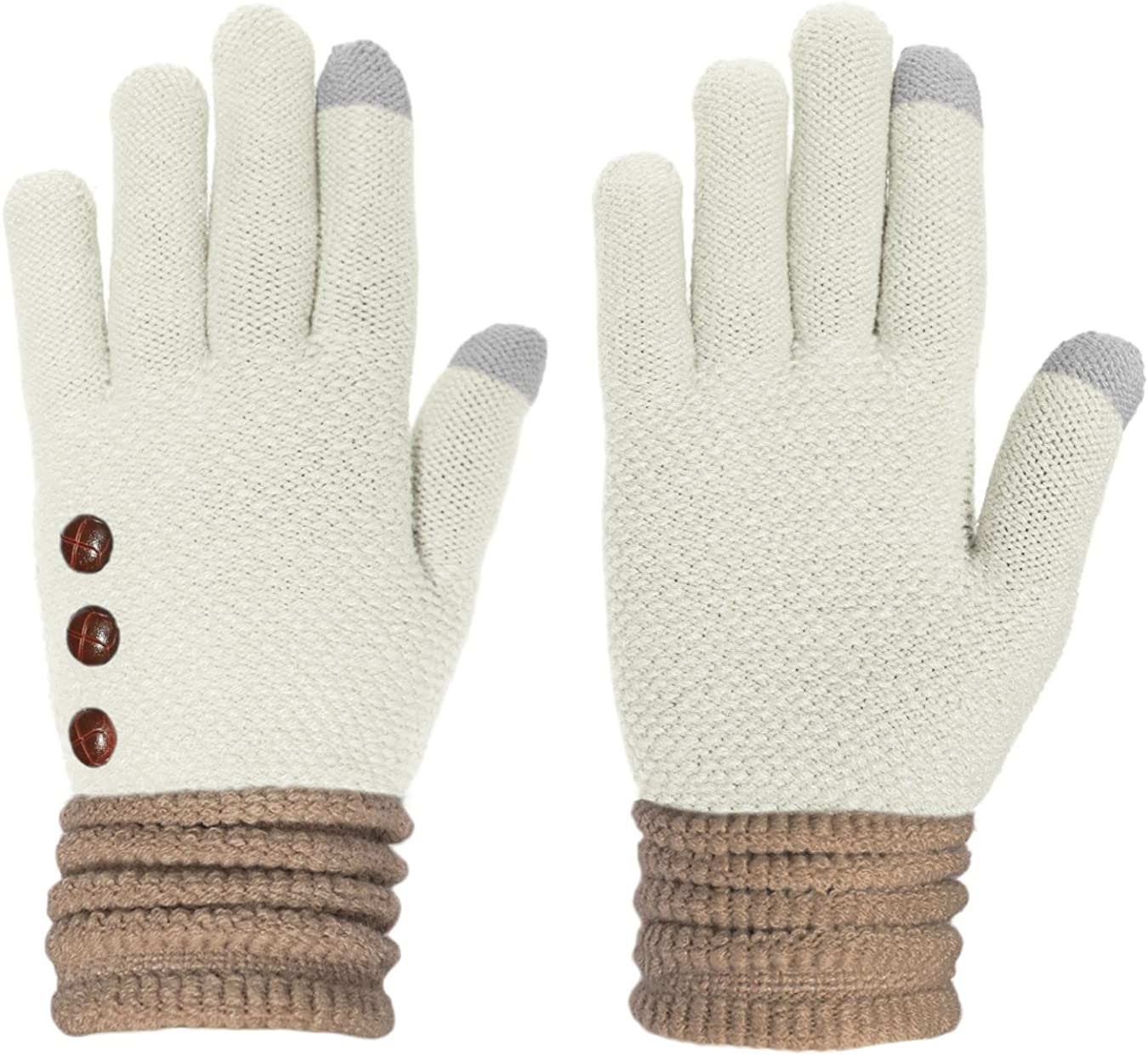 KMystic Button Touchscreen Texting Warm Knit Winter Gloves