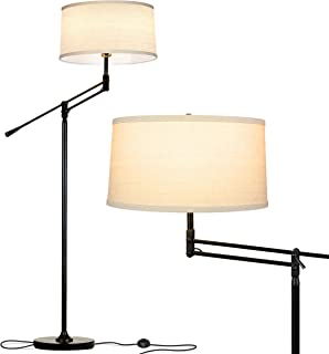 Brightech Ava LED Floor Lamp for Living Rooms - Standing Pole Light with Adjustable Arm - Office and Bedroom, Bright Reading Lamp with Drum Shade - Black