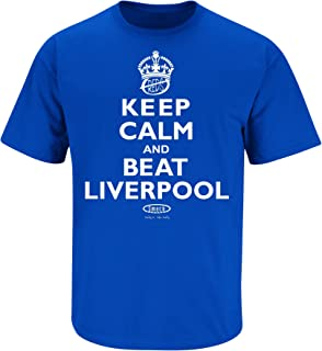 Smack Apparel Everton F.C. Fans. Keep Calm and Beat Liverpool Royal Blue T Shirt (Sm-5X)