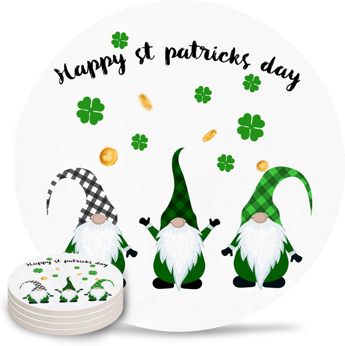 Drink Coasters Happy Cheap mail order specialty store St. Max 82% OFF Patrick's Day Absorbent Gnome St Clover
