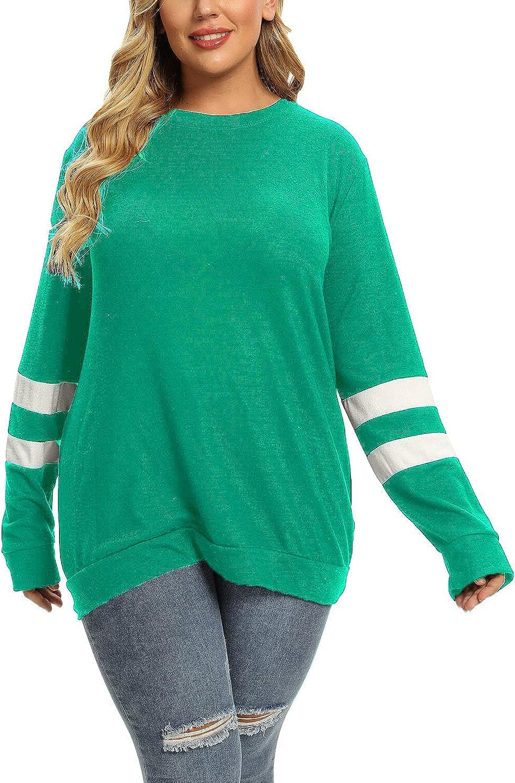 Plus Size Sweatshirts for Women Crewneck Oversized Tunic Tops Long Sleeve Shirts for Leggings 1X-4X
