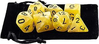 Kit 7 Dados RPG de Mesa D&D Opaco Perolado D4 D6 D8 D10 D10% D12 D20 Cor AMARELO + 1 Bolsa