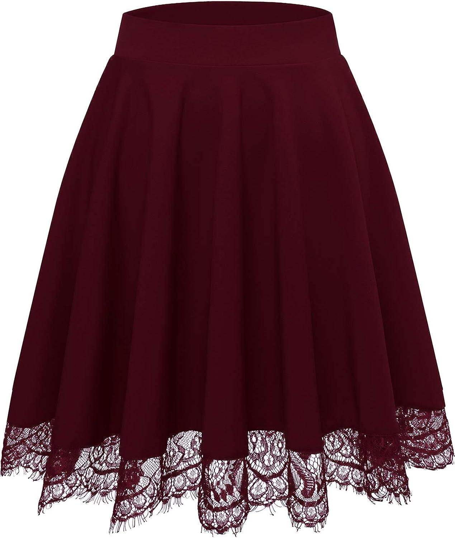 Bbonlinedress Skirts for Women Mini High Waisted Casual Versatile Stretchy Flared Skater Skirt