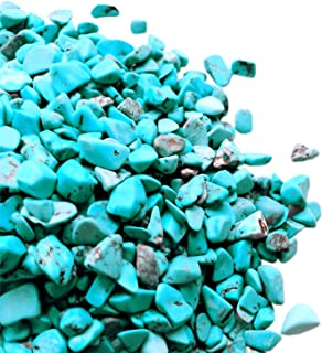 Gemgogo Howlite Turquoise, 11 Oz Tumbled Chips Crushed Quartz Crystals and Healing Stones Home Decoration 2-22mm